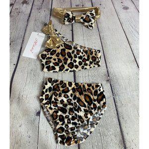 Milediiy Baby Girl Leopard One Shoulder Bikini Set
